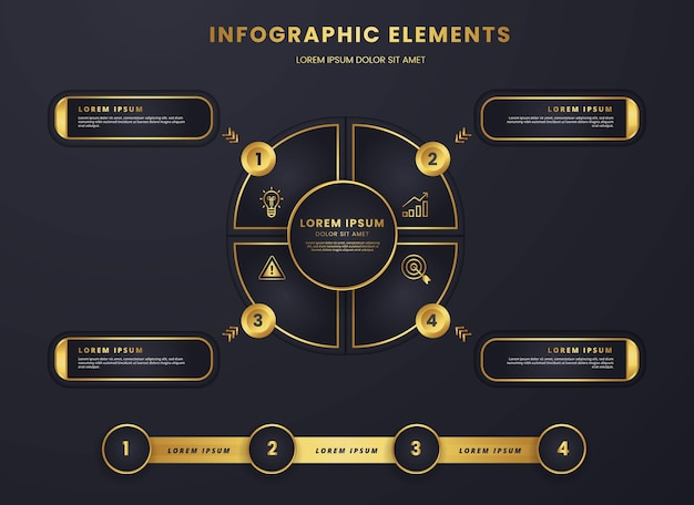 Luxury gold and dark infographic circular diagram strategic and analysis business template graphic