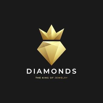 크라운 로고 디자인의 럭셔리 골드 다이아몬드