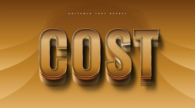 Luxury gold editable text with 3d effect. editable text effect