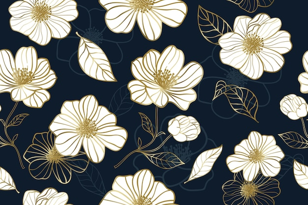Luxury gold flower with blue background seamless pattern