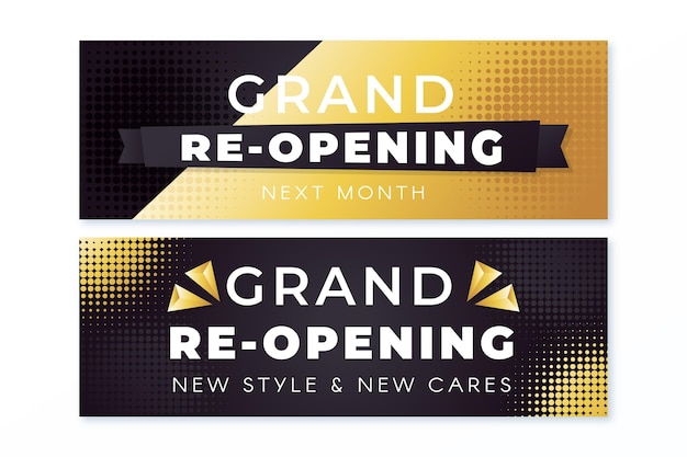 Luxury gold grand re-opening banner