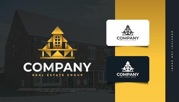부동산 회사를 위한 럭셔리 골드 하우스 로고 디자인. 건설, 건축 또는 건물 로고 디자인