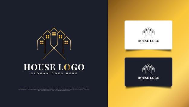 不動産業界のロゴに適した、ラインスタイルの豪華なゴールドハウスのロゴデザイン。建設、建築または建物のロゴデザインテンプレート