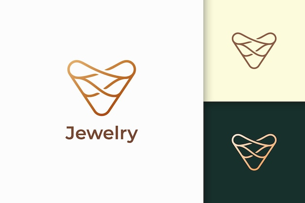 Luxury gold jewel logo in line shape represent expansive and precious