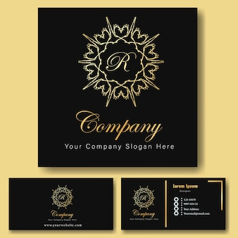 Luxury gold logo ornamental and business card template