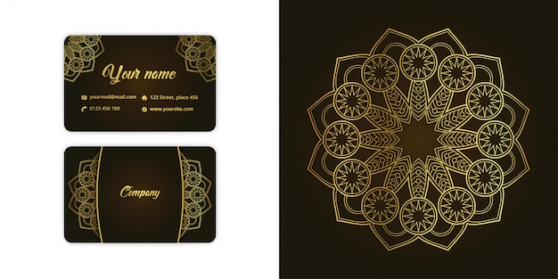 Luxury gold mandala arabesque business card and arabesque background set on elegant green color