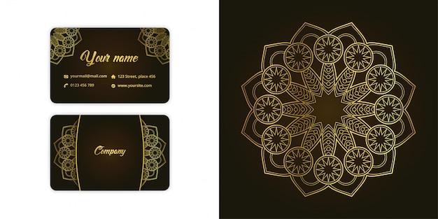 Luxury gold mandala arabesque business card and arabesque background set on elegant green color