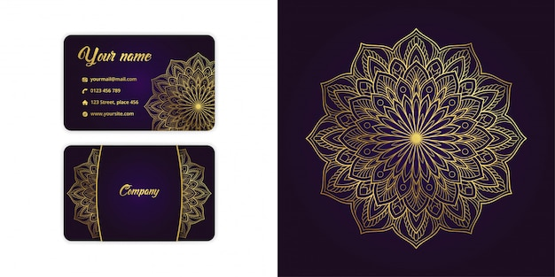 Luxury gold mandala arabesque business card and arabesque background set on elegant purple color