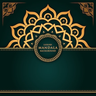 Luxury gold mandala background with green color