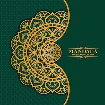 Luxury gold mandala isolated on green