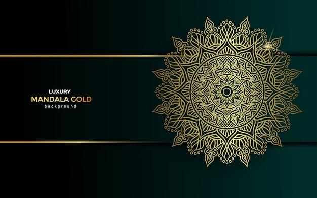 Роскошная золотая мандала богато украшенный фон.
