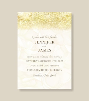 Роскошное золотое металлическое мраморное свадебное приглашение