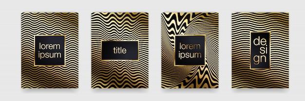 高級ゴールドパターン背景。幾何学的なゴールデンラインテクスチャ。