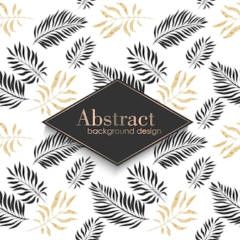 Luxury gold pattern template with tropical leaves.