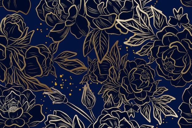 青いシームレスパターンの豪華な金の牡丹の花
