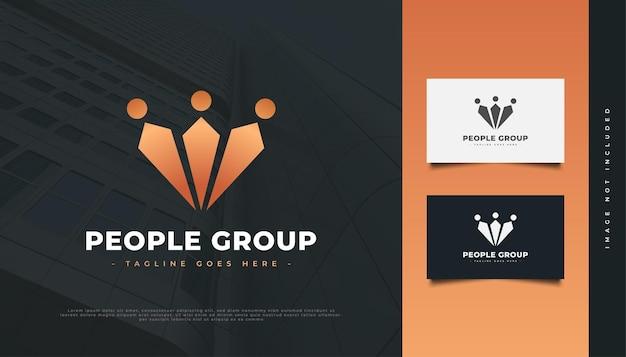 ラグジュアリーゴールドピープルロゴデザイン。人、コミュニティ、ネットワーク、クリエイティブハブ、グループ、ソーシャルコネクションのロゴまたはビジネスアイデンティティのアイコン