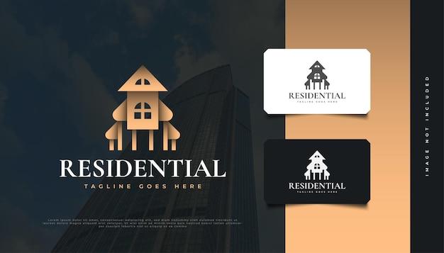 럭셔리 골드 부동산 로고 디자인. 건설, 건축 또는 건물 로고 디자인