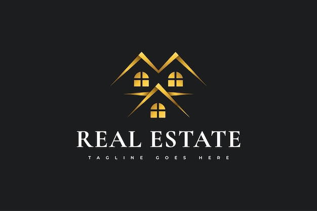 Дизайн логотипа роскошной золотой недвижимости. строительство, архитектура или дизайн логотипа здания