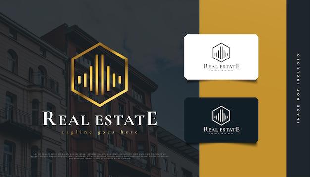 Luxury gold real estate logo design in hexagon