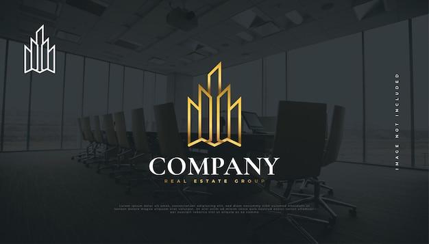 럭셔리 골드 부동산 로고 디자인 템플릿입니다. 선 스타일의 아파트 로고 디자인. 건설, 건축 또는 건물 로고 디자인