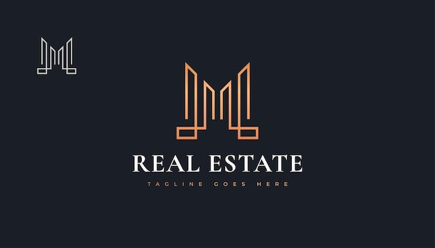 Дизайн логотипа роскошной золотой недвижимости с буквой м. строительство, архитектура или дизайн логотипа здания