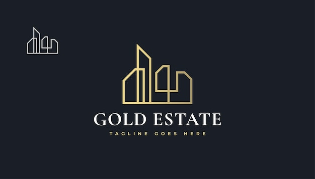 Роскошный золотой дизайн логотипа недвижимости со стилем линии. строительство, архитектура или дизайн логотипа здания