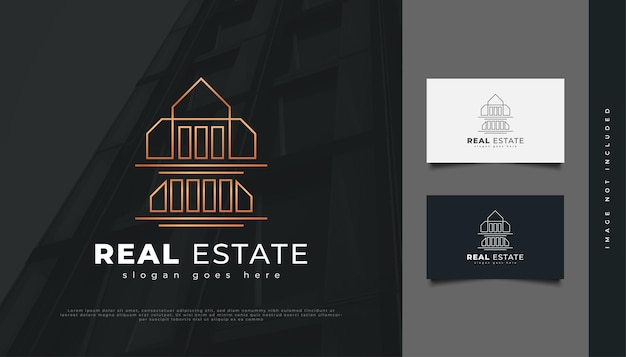Luxury gold real estate logo design with linear concept. construction, architecture or building logo design