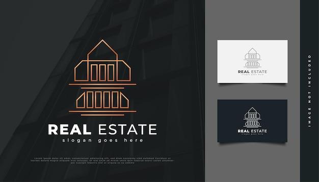 선형 개념 럭셔리 골드 부동산 로고 디자인. 건설, 건축 또는 건물 로고 디자인