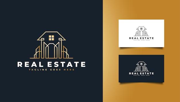 ラインスタイルの高級ゴールド不動産ロゴ。建設、建築、建物、または家のロゴ
