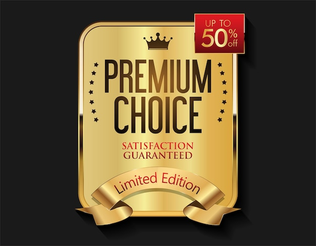 Luxury gold and red badge modern illustration