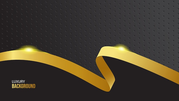 Luxury gold ribbon on black background