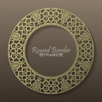 Роскошный золотой круглый цветочный дизайн рамы