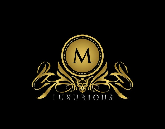 Luxury gold shield letter m logo golden floral badge design  for royalty letter stamp boutique  hotel heraldic jewelry wedding