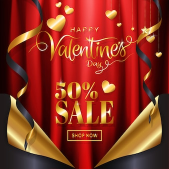 Luxury gold valentine's day sale background banner page curl style
