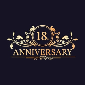 Luxury golden 18th anniversary logo