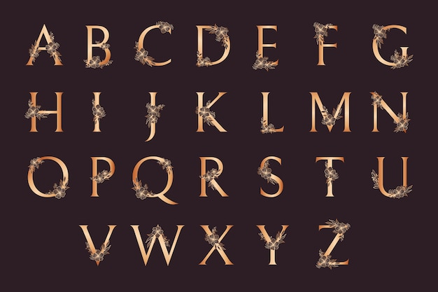 Luxury golden alphabet with flowers