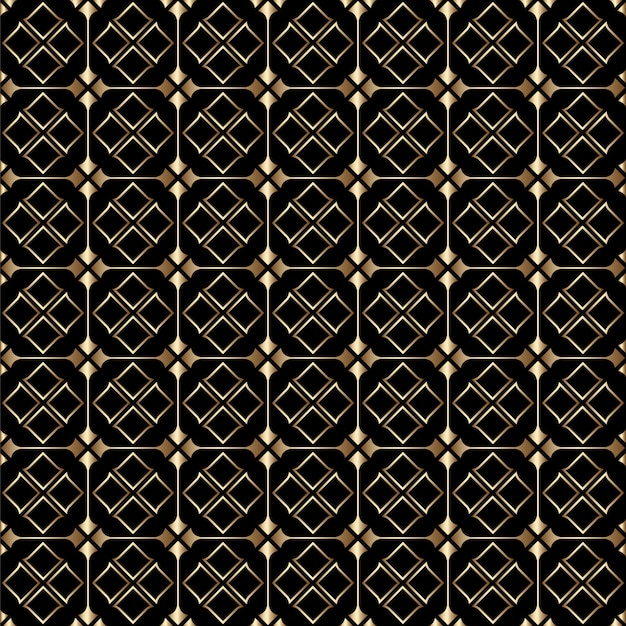 럭셔리 황금과 검은 아트 데코 원활한 패턴