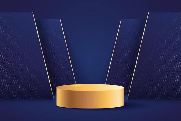 제품 프레젠테이션을위한 고급스러운 황금색 및 진한 파란색 원형 디스플레이