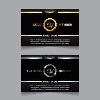 豪華なゴールデンとプラチナのvipメンバーカードデザインテンプレート