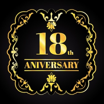 Luxury golden anniversary logo