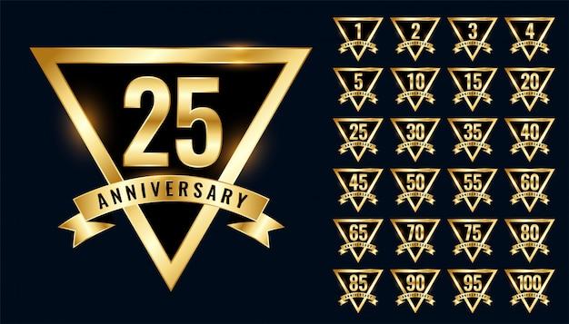 豪華な黄金周年記念ラベルとエンブレムロゴタイプセット