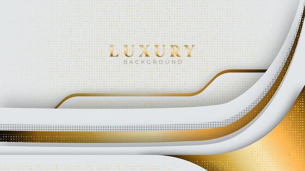3d抽象的なスタイルの豪華な金色の背景の白とグレーの色合い。モダンなテンプレートデラックスデザインについてのベクトルからのイラスト Premiumベクター
