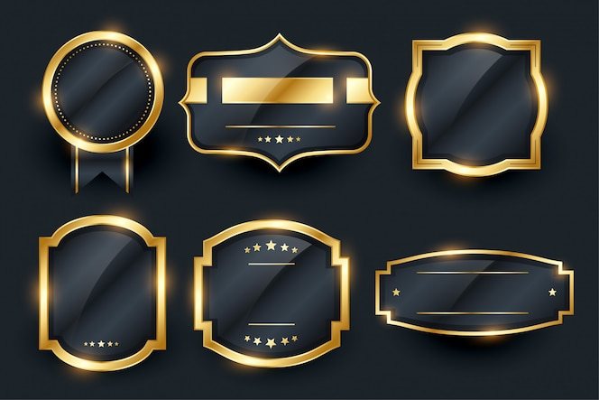 Luxury golden badge and labels set design