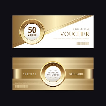 Luxury golden badge and labels, voucher card