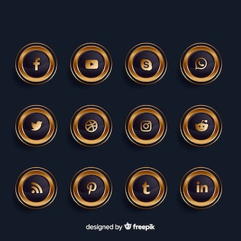 Luxury golden and black social media logo collection