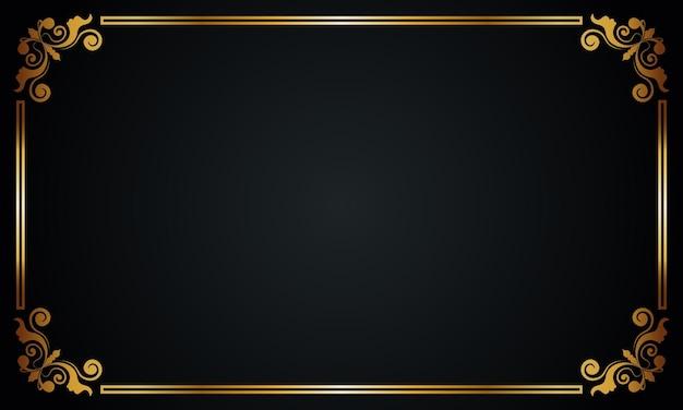 豪華な金色のボーダーの背景。ベクトルイラスト。抽象的な背景。