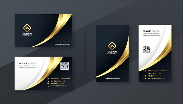 Luxury golden business card template set