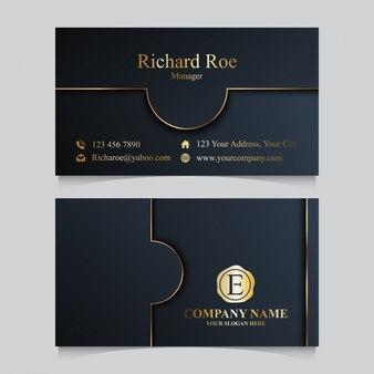 Роскошный золотой шаблон визитной карточки