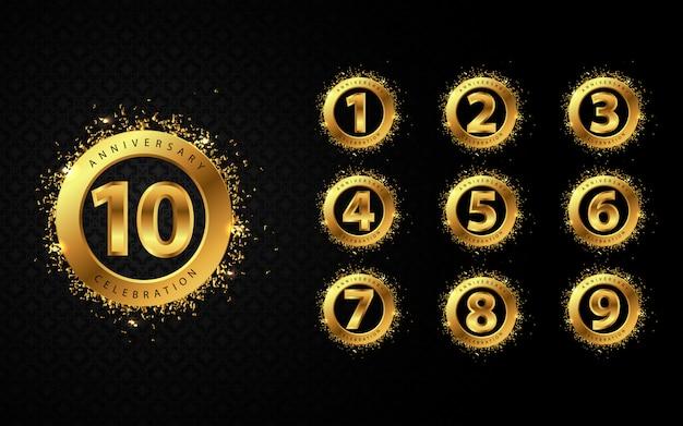 Luxury golden celebration emblem and number