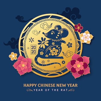 Luxury golden chinese new year of rat